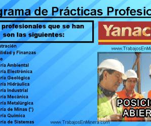 Programa de prácticas profesionales 2018 En Yanacocha