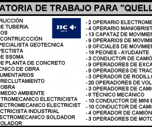 """GRUPO JJC SOLICITA PERSONAL PARA PROYECTO """"QUELLAVECO"""""""