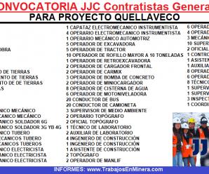CONTRATISTAS JJC INICIA CONVOCATORIA PARA QUELLAVECO