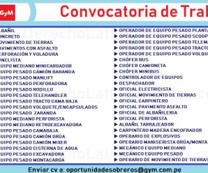 CONVOCATORIA DE PERSONAL PARA LA EMPRESA GyM DEL GRUPO GRAÑA Y MONTERO